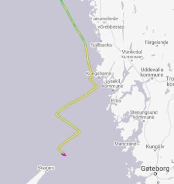 TRACKING: «Enderpearl» møtte vinddreiningen utenfor Väderöarna, og har krysset derfra.