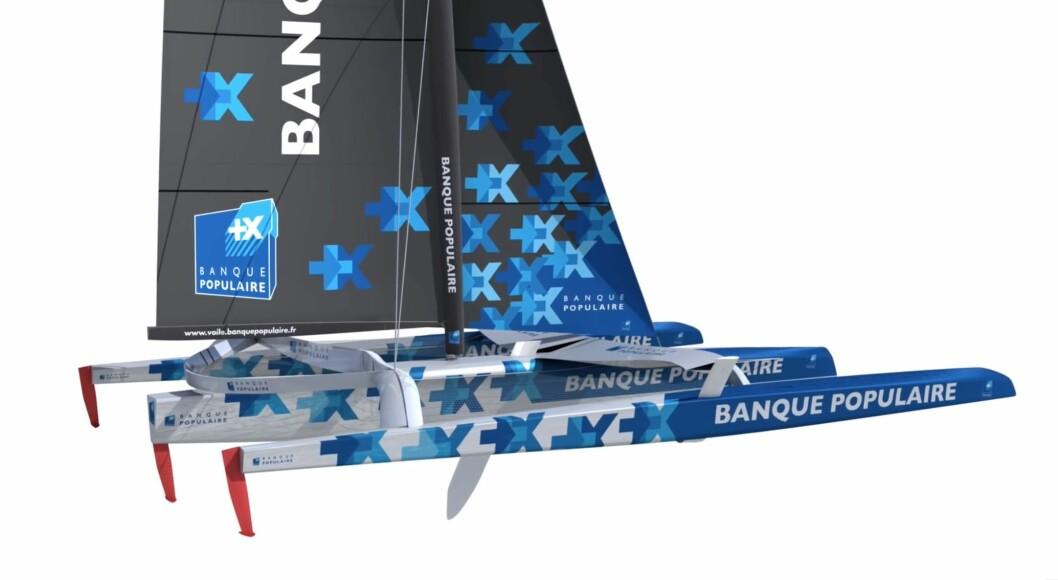 FLYR: «Banque Populaire IX» har foiler og skal fly Armel Le Cléac'h til nye rekorder. Båten blir sjøsatt til sommeren.