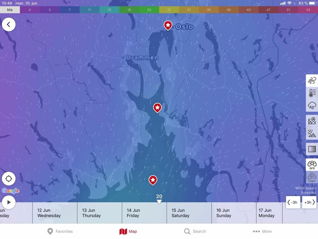 VIND: Mye tyder på at det blir kryss ut fjorden under Færderseilaen. Regn kan gjøre det utfordrende, men det kan like gjerne bli sol.