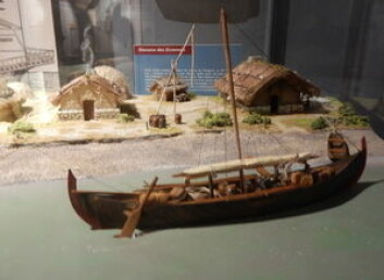 VIKING: Første display i museet viser et vikingskip.