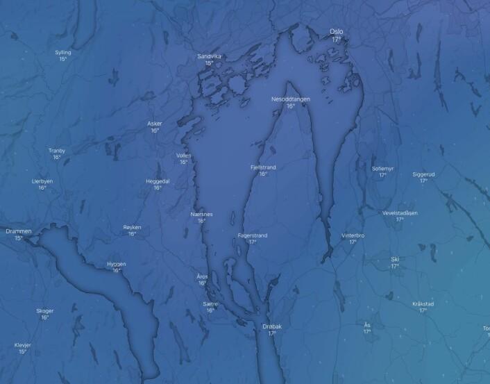WINDY: I følge Windy er det blikkstille i Indere Oslofjord fredag morgen, men vinden vil fylle inn på ettermiddagen fra sør.