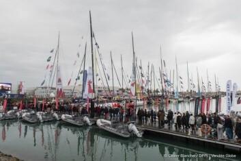 KLAR: 28 av 29 båter ligger i deltagerlandsbyen tre uker før stert.