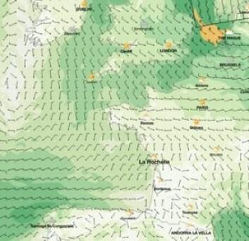 ONSDAG: Vindprognosen i Bicaya for 19.10. Alt tyder på gode forhold for å krysse det beryktete havstrekket.