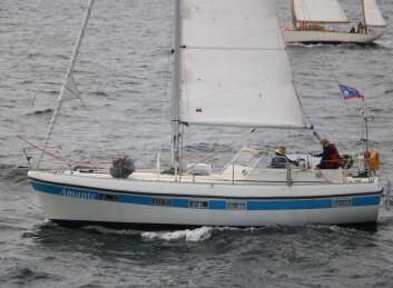 MOTORSEILER: Distansen over Nordsjøen blir lengst for «Amante» som er båten med laveste måletall.