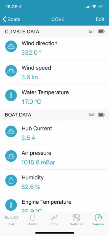DATA. Med BoatMonitoring kan du få verdifulle data fra båten på mobilen.