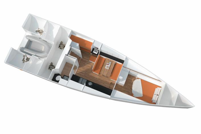 EGO: En lugare og sjøkøyer bak. Jollegarasjen som tar en RIB på 2,6 meter tar mye plass. Båten får også to motorer.