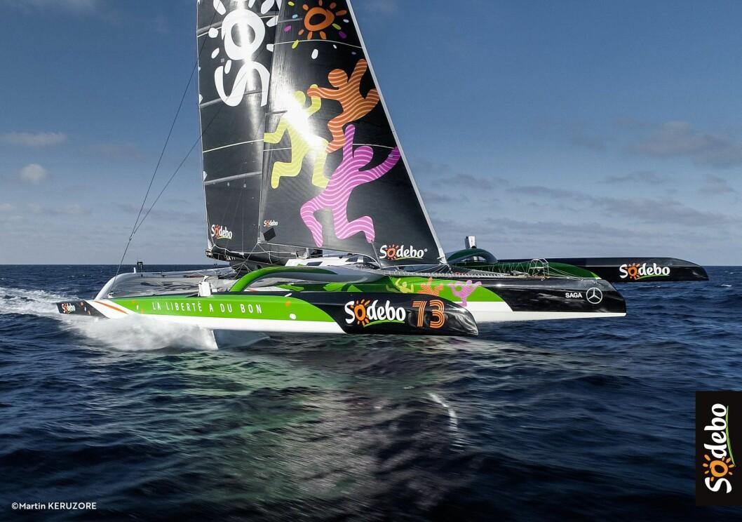 FLYR: «Sodebo Ultime 3» er den mest ekstreme båten i Fastnet Race. Under rette forhold kan den seile 40-50 knop.