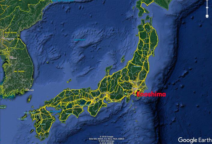 JAPAN: Seilingen under OL i Tokyo skal foregå i byen Fujisawa, som har en øy med navn Enoshima rett utenfor byen.