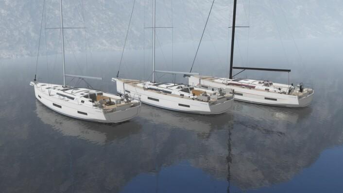 TRIO: Dufour 530 i de tre versjonene. Performance har høyere mast og dypere kjøl.
