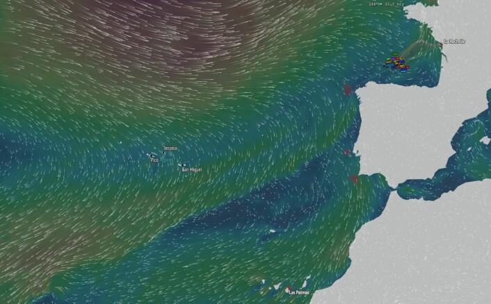 KART: Feltet strekker seg på over 50 nm etter to døgs seilas.
