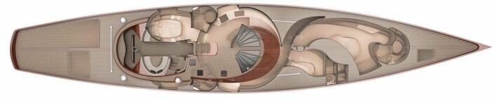LANGSMAL: Plantegning av Spirit 111.