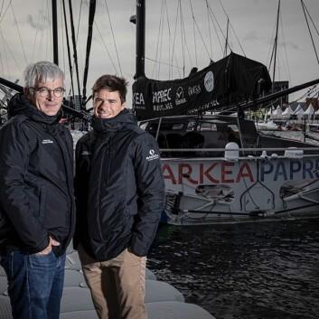 DOU: Vincent Riou er veteranen i «Arkea Paprec», mens Sébastien Simon er skipper.