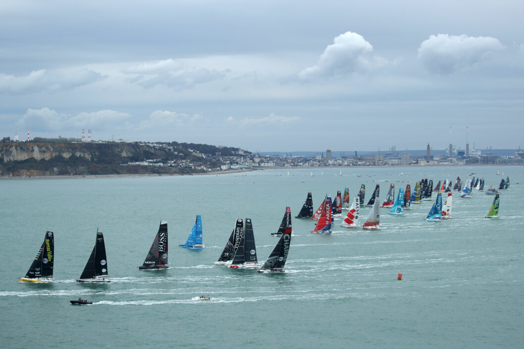 LE HAVRE, FRANCE - OCTOBER 27: Fleet is taking a good start during the Transat Jacques Vabre 2019, duo sailing race from Le Havre, France, to Salvador de Bahia, Brazil, on October 27, 2019 in Le Havre, France. (Photo by Alea)