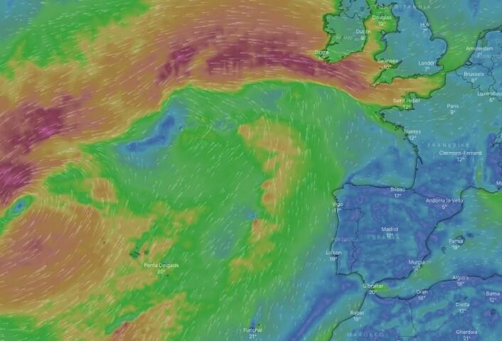 VÆR: Vinden i Atlanterhavet 29. oktober. Båtene må krysse, eller gå svært langt vest.