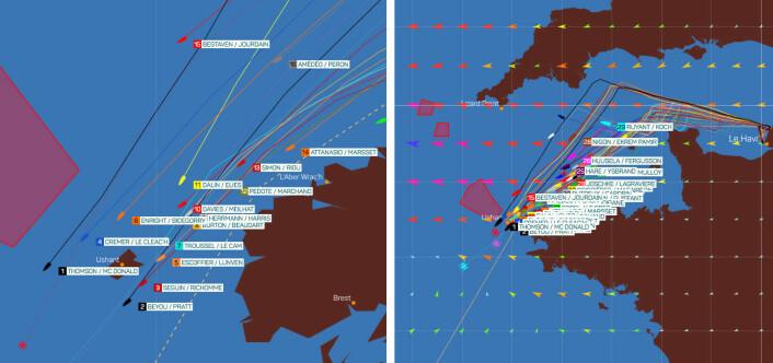 LEDELSE: «Hugo Boss» er i tet, men under 10 nm skiller de 7 første båtene.
