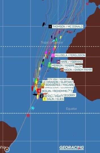 SPREKK: Feltet av båtene strekker seg fra Kanariøyene til Ekvator.