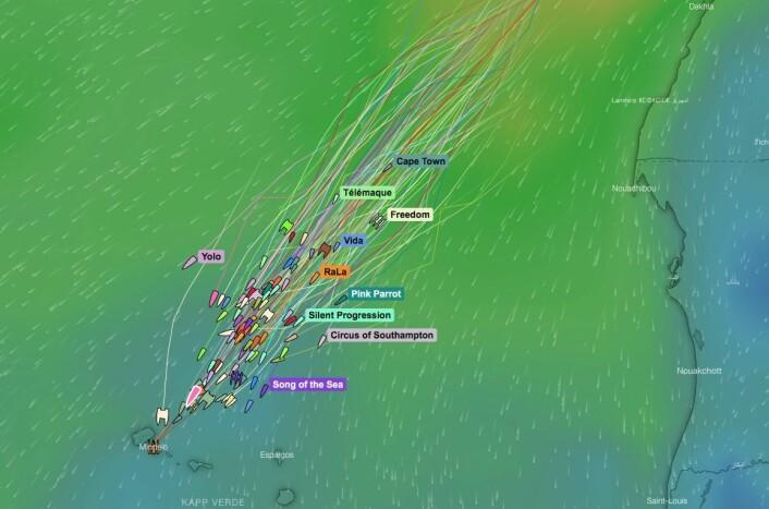 MÅL: De 25 første båtene går i mål fredag 15. november, mens resten alle er i mål i løpet av lørdag 16. november.