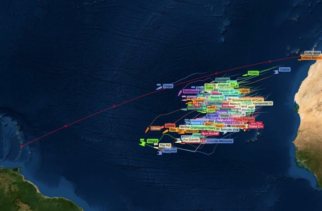 SPREDNING: Det skiller 1485 nm mellom forreste og bakerste båt som seiler ARC