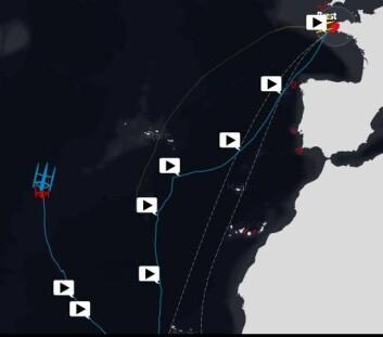 BREST: «Macif» hadde 1500 nm igjen da Cammas gikk i mål. «Actual Leader» ligger 105 nm bak «Macif«. «Sodebo» ga seg etter rorskade i Cape Town.