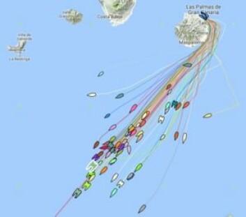 KURS: Trackingen viser båter i alle ratninger.