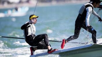 NY KLASSE: Den brasilianske mesteren Robert Scheidt forsøker seg i Miami i en helt ny klasse; 49er.