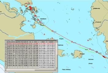 Back-up: En serie med kartutsnitt med liste over waypoints ble brukt for å beskrive ruten fra Borneo til Malakkastredet.