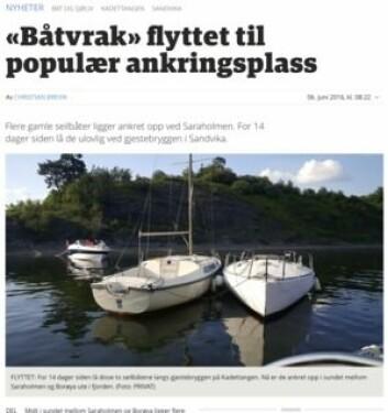 AVIS: Budstikka har fulgt noen slitne seilbåter fra gjesthavna i Sandvika til idyll i skjærgården.
