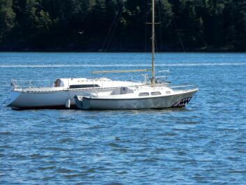 BØYE: Båtene ligger nå mer sikkert i en bøye i Leangbukta.