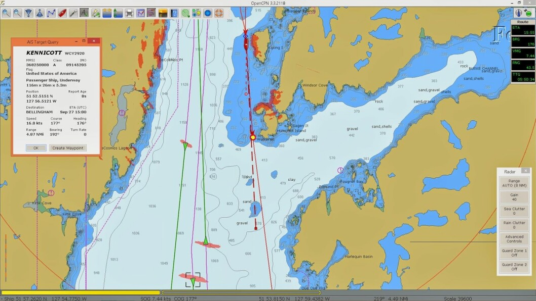 AVANSERT: OpenCPN kan brukes sammen med radar og AIS, som gir et avansert navigasjonshjelpemiddel.