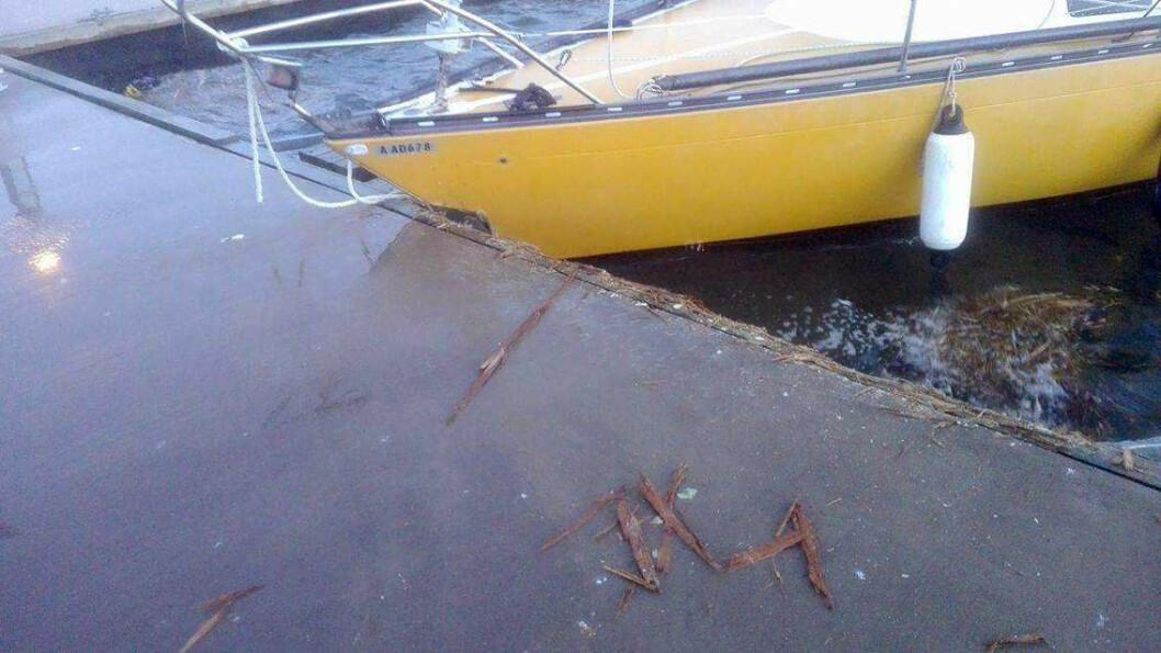 SKADET: Murena 30 fikk hull i skroget etter at gamle trosser røk i stormen i Vestfold torsdag.