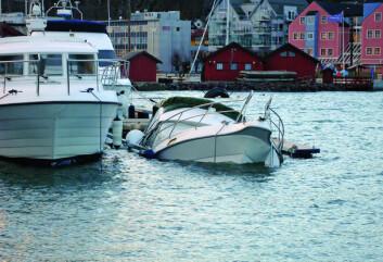 FORTØY RIKTIG: Småbåthavna i Holmestrand opplevde vinterstormen i fjor, og flere båter sank på grunn av dårlig fortøyning. Foto: Danielle Rolim de Gois Finsrud.