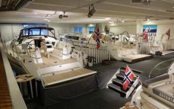 UTSTILLING: Bavaria Cruiser 41, 37 og 34 er på plass inne i hallen i Leangbukta hvor det blir utstilling siste helgen i oktober.