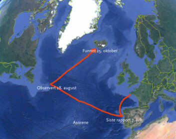 LANGT: «Red Heol» har seilt over 2500 nautiske mil siden seileren ble meldt savnet. Båten skulle til Asorene.