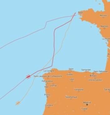 FART: Coville har seilt ekstremt raskt de første 24 timer med en utseilt distanse på 710 nautiske mil. Det gir en snittfart på 26 knop.