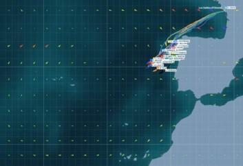 LETTERE: Et høytrykksbeltet stopper feltet. Her er vindprognosen for 9. november. Båtene uten foiler vil nå få en fordel.