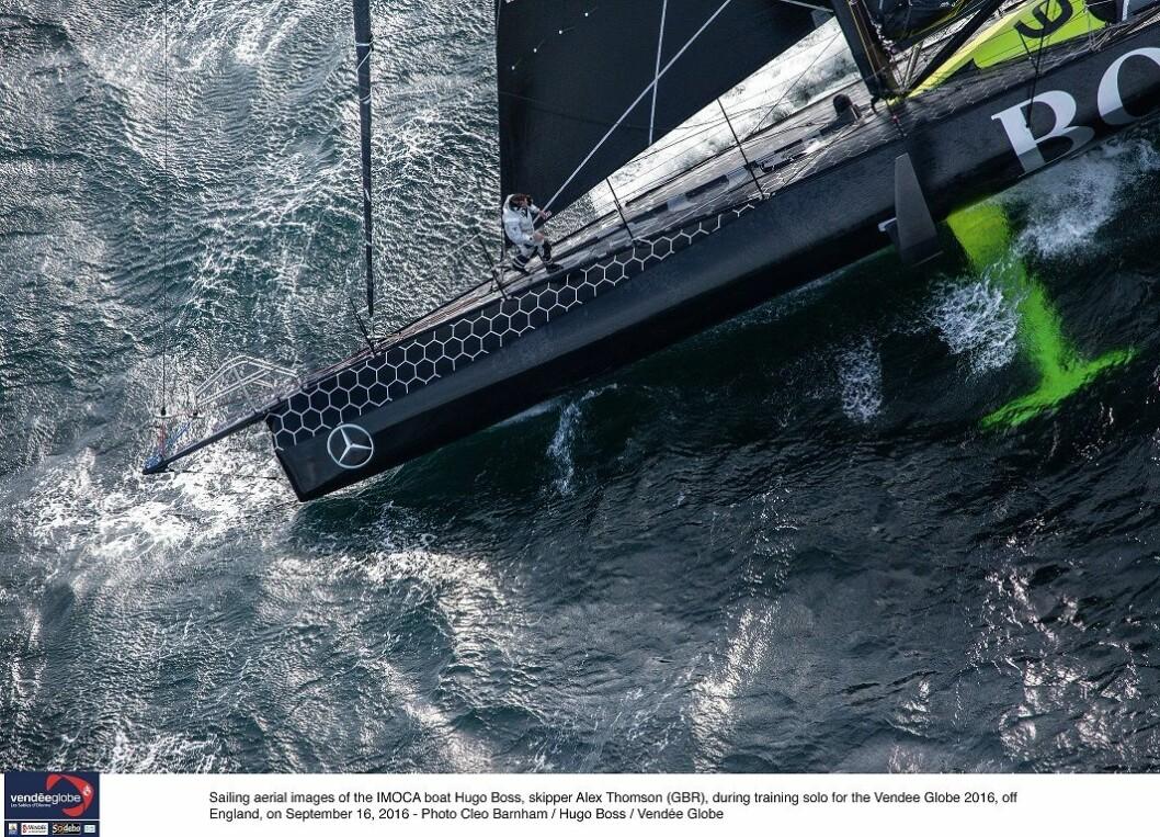 Sailing aerial images of the IMOCA boat Hugo Boss, skipper Alex Thomson (GBR), during training solo for the Vendee Globe 2016, off England, on September 16, 2016 - Photo Cleo Barnham / Hugo Boss / Vendée GlobeImages aériennes de Hugo Boss, skipper ...
