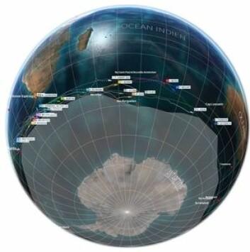 SYD: Vendee Globe-seilerne må holde seg nord for en isgrense markert i illustrasjonen. Mens Gabart var på lengdegrad med madagaskar er Armel Le Cléac?h kommet til Australia.