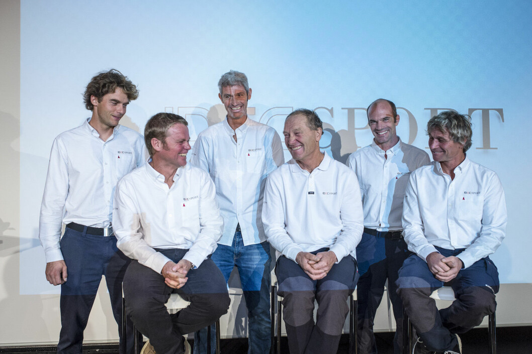 Francis Joyon, Gwenole Gahinet, Clement Surtel, Bernard Stamm, Alex Pella, Sebastien Audigane during the press conference of IDEC Sport prior to their 2nd attempt for the Jules Verne Trophy, crew circumnavigation non stop, on December 13th, 2016 in ...