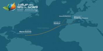 RUTE: Lanzarote til Guadeloupe er på ca 2800 nm.