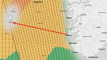 VIND: Prognosene for torsdag ettermiddag. Distansen fra Haugesund til Lerwick er rett under 200 nm.