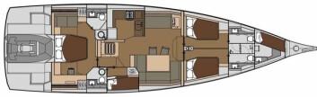 PLANLØSNING: Båten kan levers med en rekk innredningsløsninger, også med bare to lugarer. Slik er det løst i den utstilte båten.