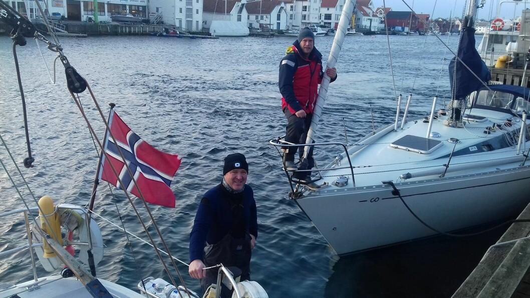 VIKINGER: Sigurd Utbjoe og Erik Aanderaa seilet solo i hver sin båt fra Haugesund til Shetland i januar.
