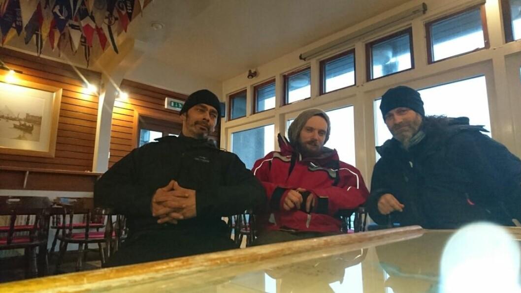 FREMME: Leo Johansen, André Rønningen og Raymond Myhre opplevde særdeles tøffe forhold i Nordsjøen, men kom i havn med både helse og båt i behold.
