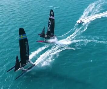 FLYR: Det blir tffe dueller under America\'s Cup som starter 16. mai. Båtene har et potensial å seile over 40 knop.