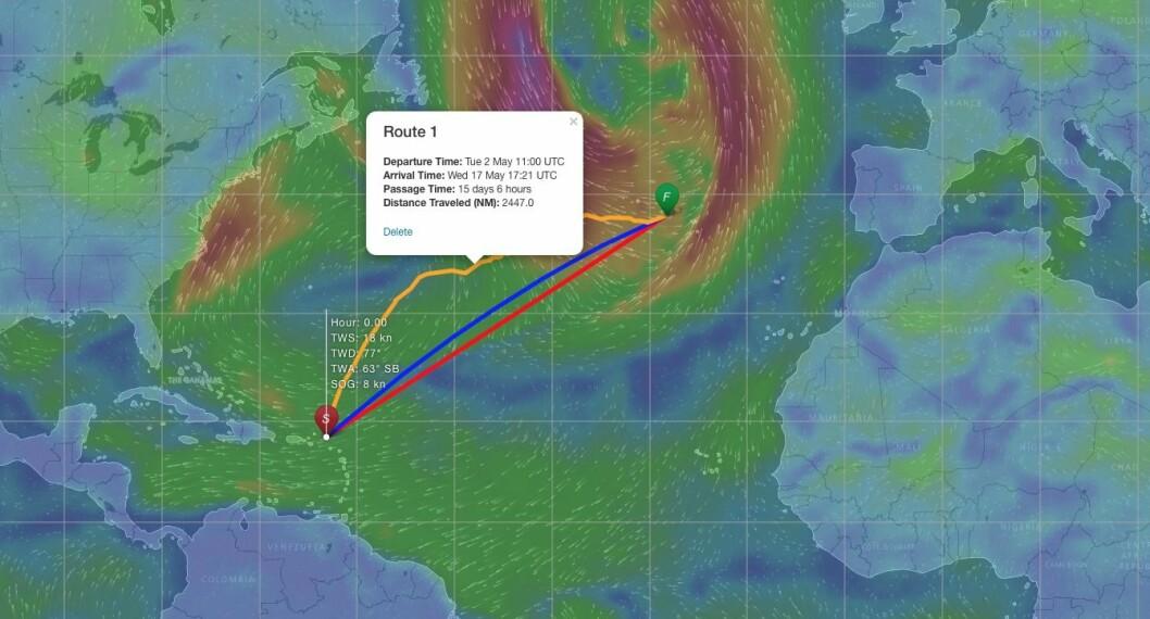 SJEKK: Mange langturseilere sjekker nå værprognosene hyppig for en trygg seilas over Atlanterhavet. Slik prognosene er i dag, så er raskeste vei nordover til Bermuda.