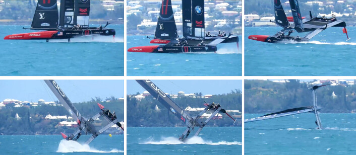 JIBB: Oracle Team USA kullseilte under en jibb i 7-9 m/s vind.