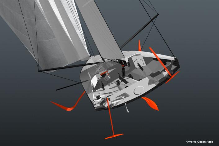 RASK: Nye Volvo Ocean Race bygger på erfaringer fra Vendee Globe, men på disse båtene kan foilene trimmes for høyere effekt.