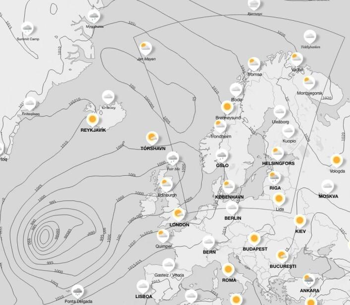 LAVTRYKK: Et stort lavtrykk vil ligge vest for Irland på fredag. Det vil påvirke vindretningen.