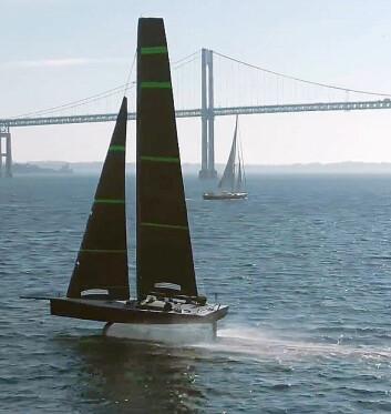 MULE: New York Yacht Clubs treningsbåt i halv størrelse er ute å flyr.