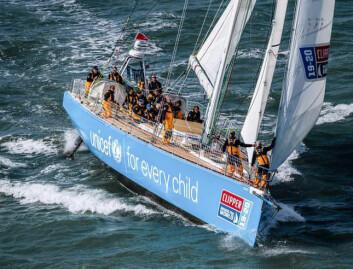IGANG: Anne Elisabeth Serigstad seiler på «Unicef» som ligger som fjerde båt mot Cape Town, og 7. over-all.
